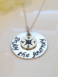 Enjoy the journey Hand Stamped necklace with compass charm-Graduation Gift-Retirement Gift-Graduation Necklace-Retirement Necklace on Etsy, $40.00