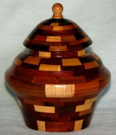 ARTISAN MIXED WOOD HAND CRAFTED CONTAINER WITH LID