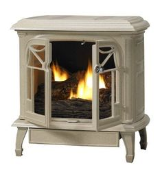 Antique White Cast Iron Stove with Vent-Free Propane Gas Burner System