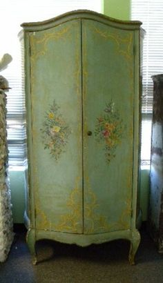 Early 20th C Italian Venetian Floral Painted Armoire