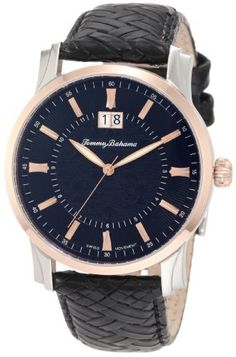 Tommy Bahama Swiss Men's TB1225 Cubanito Rose Gold Black Dial Swiss Analog Watch Tommy Bahama. $144.00. High grade solid stainless steel case, caseback and crown. Swiss quartz 3-hand analog movement with sweeping second hand. Durable k1 mineral glass crystal and water-resistant to 50 m (165 feet); 5-year limited warranty. High grade genuine leather calfskin strap with a solid stainless steel buckle closure. Water-resistant to 165 feet (50 M)