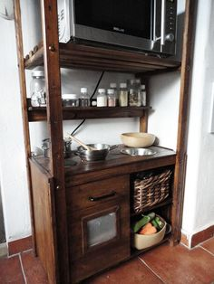 Ikea hack for a play kitchen that is also storage in the real kitchen