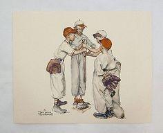 Vintage 1970's Norman Rockwell Choosin' Up Sporting Boys Baseball Print and Card Set