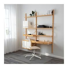 IKEA - SVALNÄS, Wall-mounted workspace combination, bamboo, white, With a spacious storage solution everything has its place; makes it easy to find your things. Hide or display your things by combining open and closed storage. White Floating Shelves, Floating Shelves Bathroom, Modular Shelving, Shelving Systems, Shelf System, Svalnäs Ikea, Wall Mounted Desk, Ikea Wall Desk, Desk Shelves
