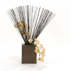 Distinctive Designs 2418A Silk Champagne Vanda Orchids with Cane Reeds in Tall Crystal Bronze Planter