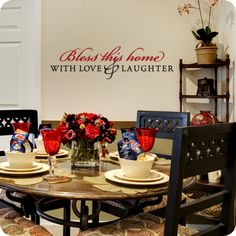 """""""Bless this home with Love & Laughter."""" This family-oriented wall quote is great for your living room or dining room. Order yours now!"""