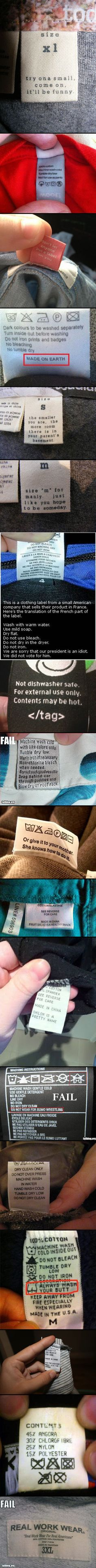 are some bizarre, yet real, clothing tags that make absolutely no sense. My favorite is the President one. Clothing Tags, Haha Funny, Laughing So Hard, Laugh Out Loud, Make Me Smile, Nerdy, Laughter, Geek Stuff, Just For You