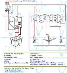 Basic electric circuit diagram: ups & inverter wiring diagram for one r Electrical Circuit Diagram, Electrical Plan, Electrical Wiring Diagram, Electrical Projects, Electrical Layout, Electronic Engineering, Electrical Engineering, Engineering Projects, Single Line Diagram