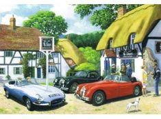 The Jaguar Club The Swan Pub, Nostalgic Art, Jaguar Xk, E Type, Automotive Art, Metal Signs, Car, British, Vintage