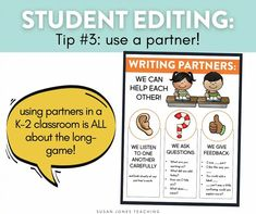 How do you teach kindergarten, first grade, and second grade students to edit their own writing?! I love using writing partners to get students to listen and provide feedback to their peers.