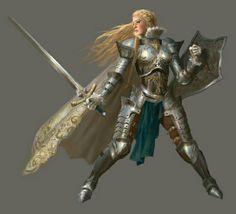 Human Female Paladin Knight - Pathfinder PFRPG DND D&D d20 fantasy
