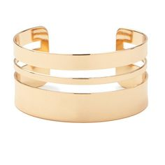 Forever 21 Double Cutout Cuff ($5.90) ❤ liked on Polyvore featuring jewelry, bracelets, cut out jewelry, cuff jewelry, forever 21 bangle, forever 21 jewelry and forever 21