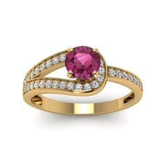 Pave Antique Diamond Engagement Rings with Pink Sapphire in 14K Yellow Gold exclusively styled by Fascinating Diamonds