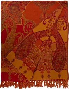 Floral Paisley Cotton Throw Red Burnt Orange - Steel Paisley