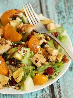 Best Salad Ever Recipe ~ with avocado, feta, dried cranberries , mandarin orange, etc and a homemade dressing.