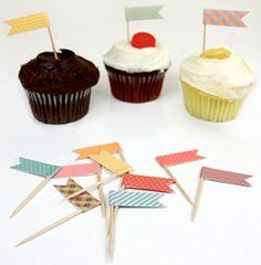 Décoration de table - Petits drapeaux pour les cupcakes