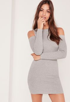 Up your style game for the new season in this cold shoulder grey knit dress.