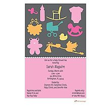 Shower her with love and gifts for the nursery. It's a girl! Modern shower invite with onesie, teddy, bib, bottle, rocking chair.