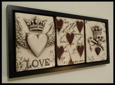 Sid Dickens Memory Blocks- Framed trio with Amore, Floating Red Hearts w/ Script and Destiny w/ red heart. (Photo Owner Suzie Naso)