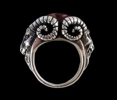925 Solid Baphomet Evil Sabbatic Goat Ring w/ Red Garnet
