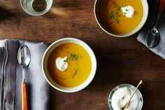 Thomas Keller's Butternut Soup with Brown Butter, Sage, and Nutmeg Crème Fraîche: Its flavors sweeten and develop with a day or two in the fridge, and will go over very well in mixed company: