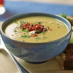 Fresh limas are at their peak from June to September. Thawed frozen beans substitute well for fresh. Here, the beans are pureed in a creamy soup garnished with bacon and sour cream.