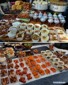 The combo photo taken on April 29, 2014 shows a variety of local snacks on a street in Chengdu, capital of Sichuan Province.