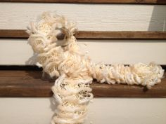 Off White Ruffle Fashion Scarf with wool trim by AStitchNiche, $30.00