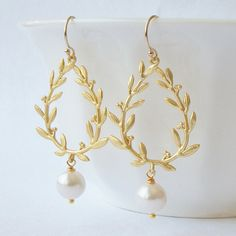Laurel Wreath Earrings by Perini Designs  Earring height 2 - see photo #2 for size reference Earrings are made, gift wrapped and ready to ship. All