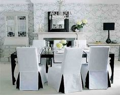 Dining Room Chair Covers Black And White, white dining room chairs, dining room chair covers ~ Home Design Dining Room Chair Slipcovers, Dining Room Chair Covers, White Dining Room Chairs, Seat Covers For Chairs, Dining Table Chairs, Dining Rooms, White Chairs, Kitchen Chairs, Upholstered Chairs