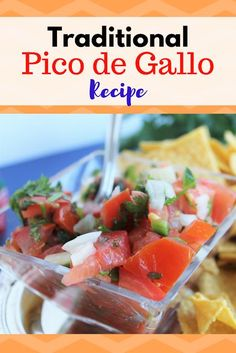 Super Easy Traditional Pico de Gallo Recipe for using up that fall harvest of tomatoes, peppers, onions and jalapenos Quick Lunch Recipes, Quick Easy Meals, Healthy Recipes, Yummy Recipes, Tacos And Burritos, Clean Eating For Beginners, Vegan Sauces, Fresh Fruits And Vegetables, Football Food