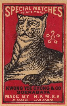 Japanese Matchbox Label With Tiger Photograph