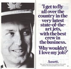 Ansett Australia 1989 advert Pacific Airlines, Best Airlines, Australian Airlines, Australian Vintage, Air New Zealand, Love My Job, Good People, Vintage Posters, Aviation
