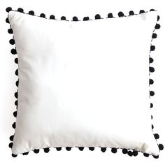 Pom Pom Pillow (£70) ❤ liked on Polyvore featuring home, home decor, throw pillows, black and white home decor, black and white throw pillows and black and white accent pillows