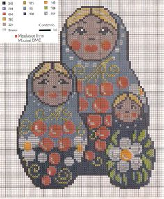 Free Matryoshka Russian Nesting Doll Cross Stitch Chart or Hama Perler Bead Pattern