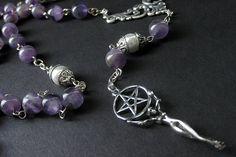 New to Gilliauna on Etsy: Pagan Necklace. Goddess Necklace. Amethyst Necklace. Gemstone Necklace. Wiccan Meditation Rosary Necklace. New Age Jewelry. Handmade Jewelry (110.00 USD)