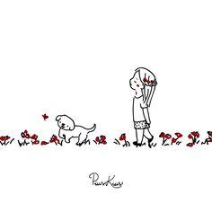 Cartoon Girl Images, Sad Art, Fanarts Anime, Girl And Dog, Animal Quotes, Cute Illustration, Dog Mom, Easy Drawings, Doodle Art
