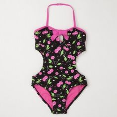 Little Girl Cherries Side Cut Out One Piece