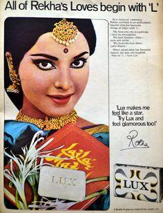 "Vintage Lux Ads - Rekha  ""All of Rekha's Loves begin with 'L'"" :D :D"