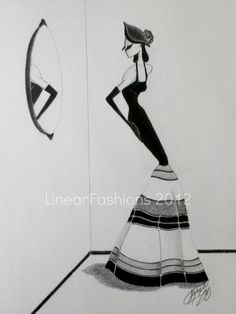 1940s Fashion Illustration Art Mexican Beauty by LinearFashions