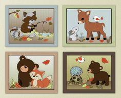 """Friends of the Forest (8""""x10"""", (4) Set of Four) Little Pig Studios http://www.amazon.com/dp/B00GIOAVRE/ref=cm_sw_r_pi_dp_lBJJtb1GMWCM50BM"""