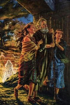 Lot and his daughters fleeing Sodom.HD.