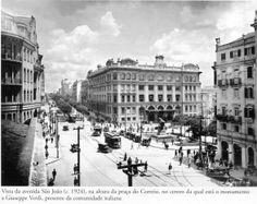 1924 - Vista da avenida São João, na altura da praça do Correio, no centro da qual está o monumento a Giuseppe Verdi, presente da comunidade italiana. Foto de autoria desconhecida. Acervo do Instituto Moreira Salles.