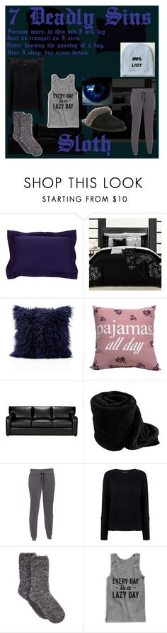 7 Deadly Sins_Sloth by kitten-loves-candy on Polyvore featuring Pink Tartan, Under Armour, Charter Club, UGG Australia, Ethan Allen, Nordstrom Rack, women's clothing, women's fashion, women and female