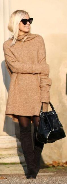 Camel Oversize Turtleneck Sweater Dress by Natulia