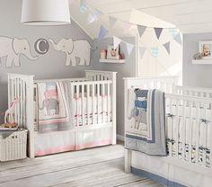 Safari Friends Nursery Bedding Set | Pottery Barn Kids. Not having twins- but I love the elephants above the crib