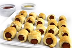 These NEW bite size treats are so cute to serve. Everyone loves them! How simple can you get with just 2 ingredients. I used reduced-fat refrigerated dinner rolls and 97% fat-free all beef hot dogs. Each has 40 calories, 2 grams of fat and 1 Weig