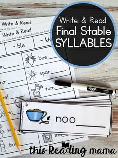Final Stable Syllables - Write & Read Pack - This Reading Mama Literacy Games, Spelling Activities, Literacy Stations, Reading Activities, Reading Tutoring, Reading Intervention, Teaching Reading, Fun Learning, Word Study