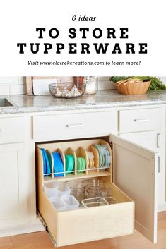 Tupperware is a must-have in the kitchen but can be painful to store. Here are 6 ideas to store tupperware so you never lose the lids. Home Organisation, Kitchen Organization, Kitchen Storage, Organization Station, Tupperware Organizing, Tupperware Storage, Tidy Kitchen, Organised Kitchen Diy, Organised Home