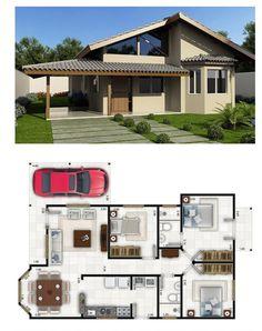 Arquitetura 3d House Plans, House Layout Plans, Home Design Floor Plans, Duplex House Plans, Bungalow House Plans, Dream House Plans, Modern House Plans, Small House Plans, House Layouts